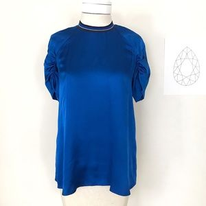 Zara Blue Cotton Sateen Top Ruched Sleeves